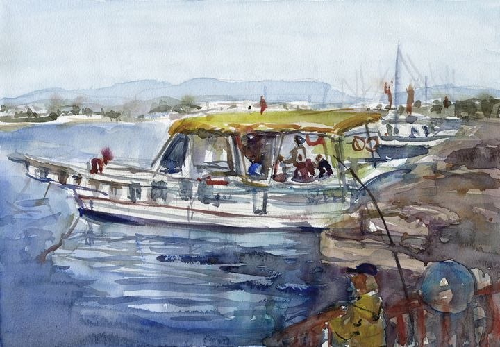 Fishing day watercolor 32.5 cm 22.5 - IRIKA