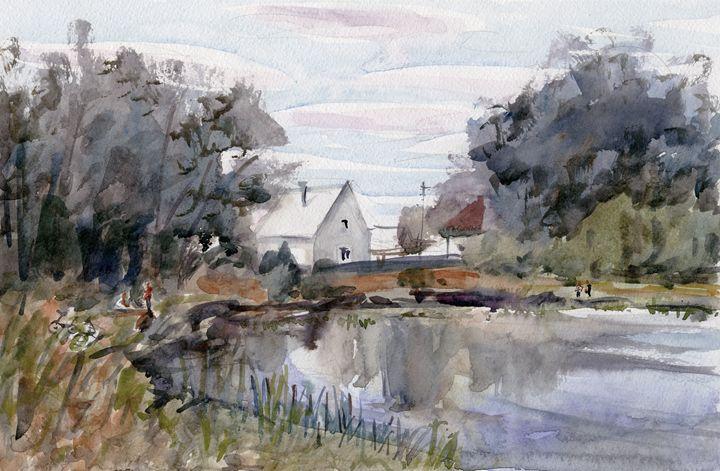 White house near the pond 37cm 24 cm - IRIKA