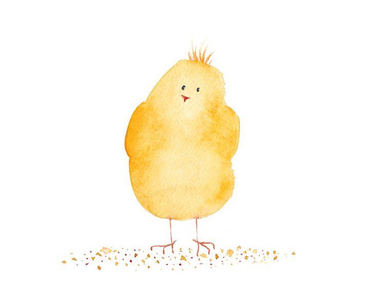 Little Funny Yellow Chicken Irika Drawings