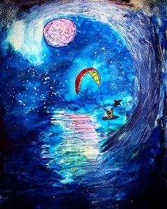 Surfing under pink full moon