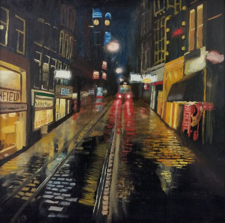 Night Urban Cityscape - Original Oil paintings by Sam Foster
