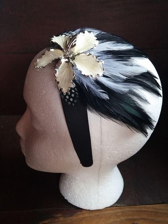 Antique brooch feather headband - Tarnished Gypsy