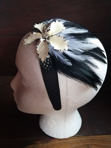 Antique brooch feather headband