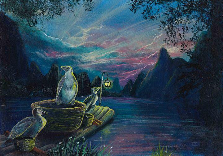 Cormorants Fishing - Gregory J Farrugia
