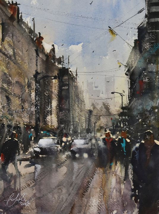 London Street - Tony White Watercolour