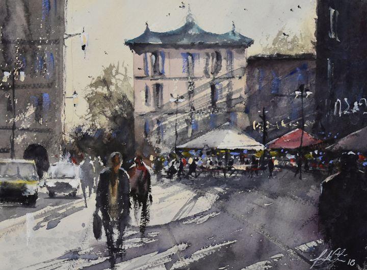 Busy Market Day - Tony White Watercolour