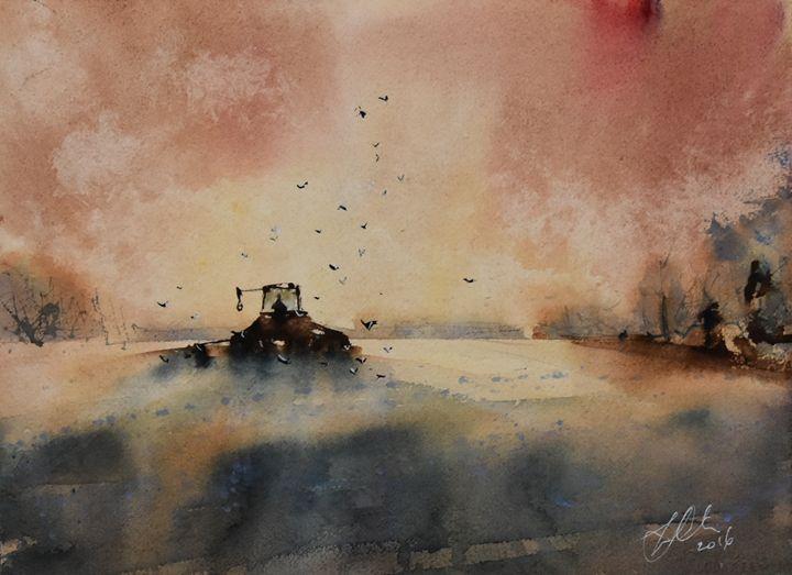 Summer Tractor - Tony White Watercolour