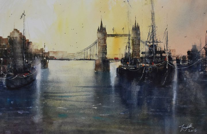 The Tower and The Thames - Tony White Watercolour