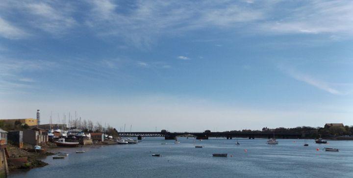 Boats, sea and bridge. - Michelle Gardiner