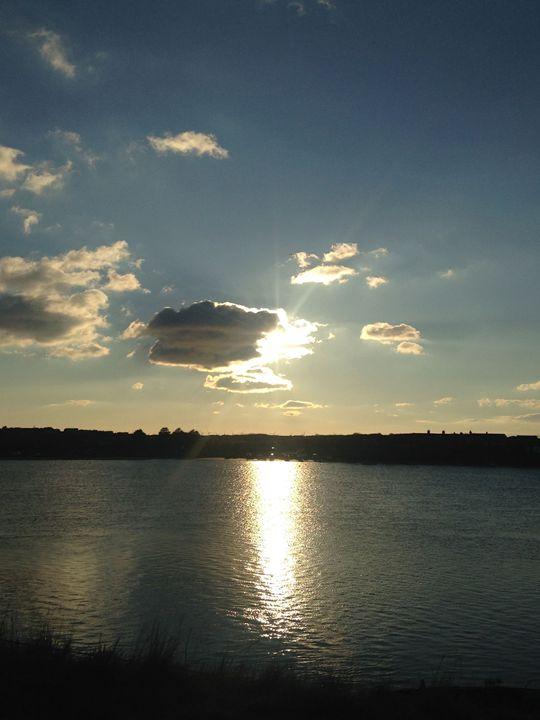 Sun and Cloud over Reservoir - Michelle Gardiner