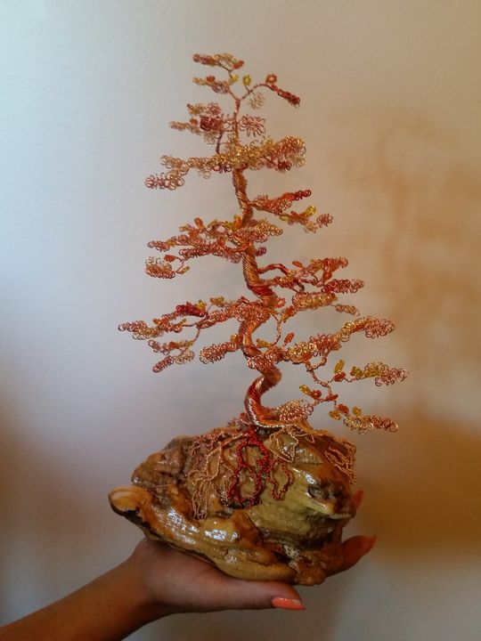 Beaded Wire Tree Bonsai - Orange - Beaded Wire Tree Bonsai Art