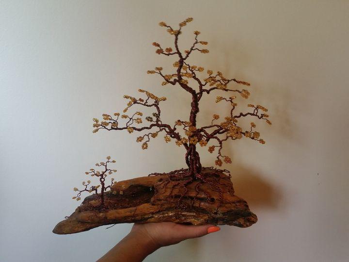 Beaded Wire Tree Bonsai - Gold - Beaded Wire Tree Bonsai Art