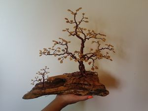 Beaded Wire Tree Bonsai - Gold