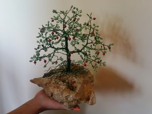 Beaded Wire Tree - Green Apple Tree
