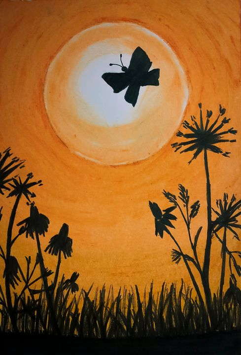 Amazing sunset with butterfly art - Sketch Guru