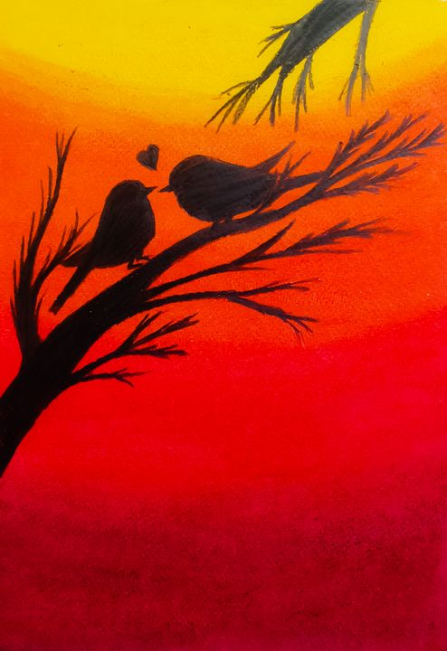 Lovebirds at sunset - Sketch Guru