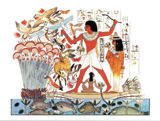 Hunting in the Marshes - Egyptian art prints