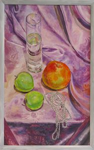"Still life ""Necklace and grapefruit"""