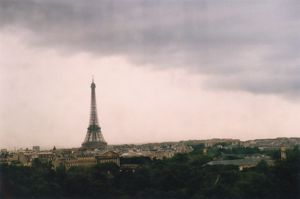 Dusty Eiffel Tower at Dusk