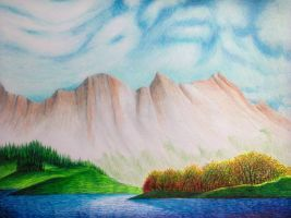 Scene from the Rockies (Drawing) - John-Baroque