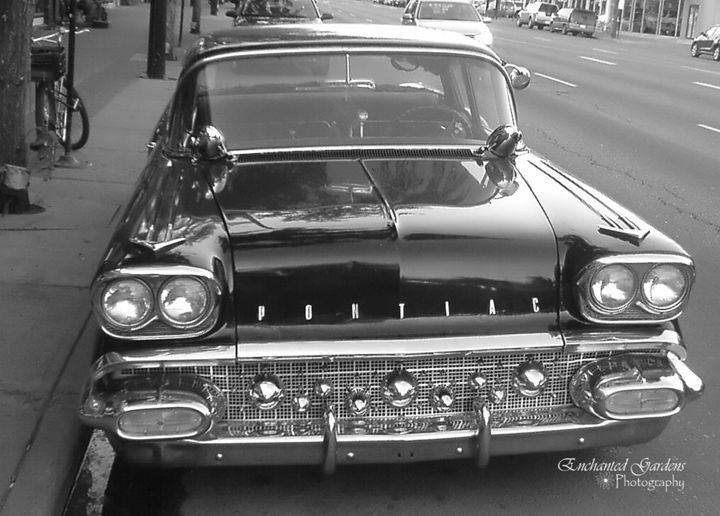 Black & White Classic car on Whyte A - Enchanted Gardens Photography