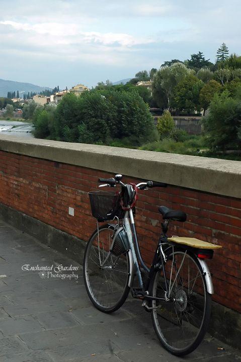 Italian Bike by Brick Wall - Enchanted Gardens Photography