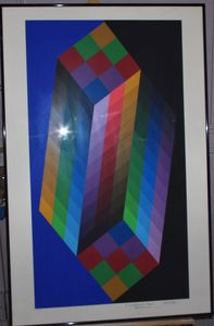Signed Vasarely lythography