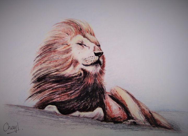 Resting lion - Cheryl Rourke