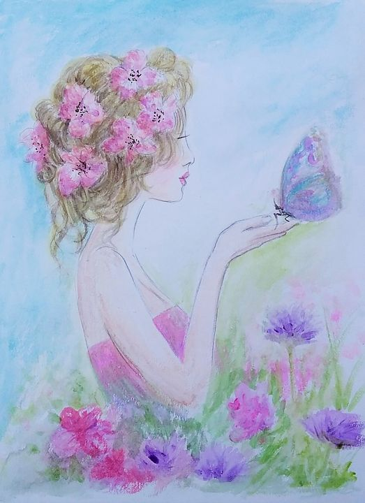 Flower girl and butterfly - Cheryl Rourke