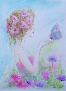 Flower girl and butterfly