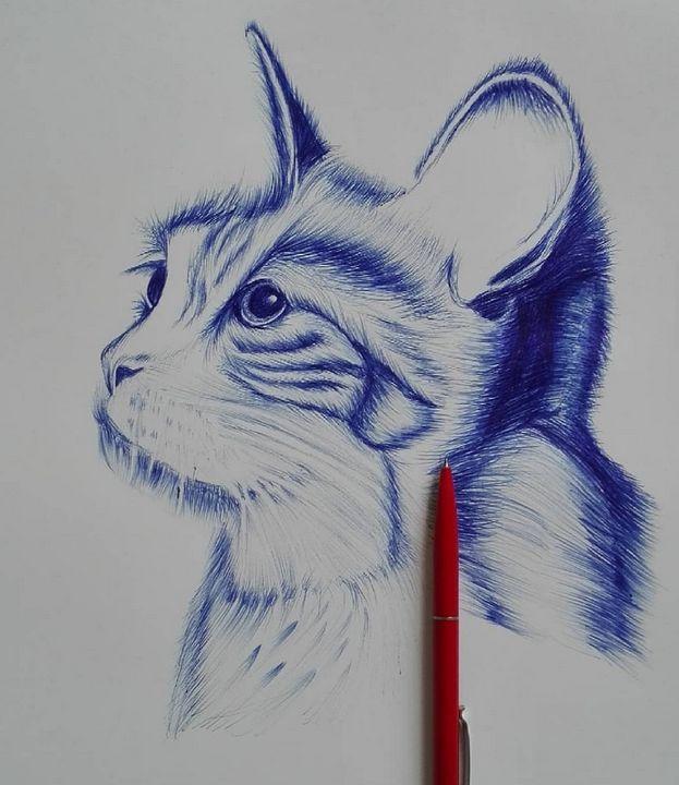 Cat sketch with pen Original - Bilal Durani