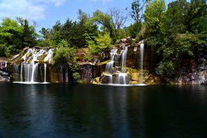 Beautiful Red Granite Waterfall