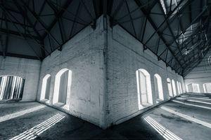 industrial interior, windows