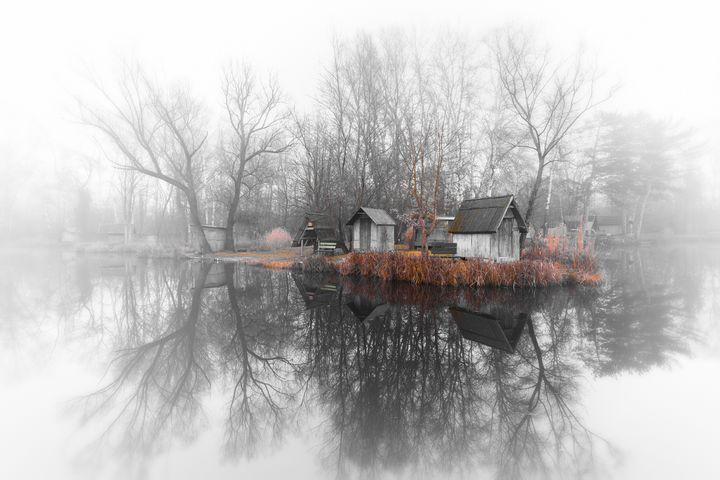 Winter landscape with a small lake - maroti