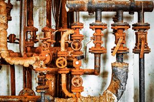 old rusty pipeline in chemical facto