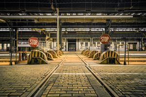 Abandoned industrial interior with b