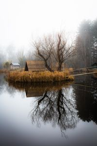 Winter landscape with a small lake,