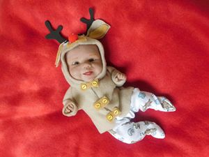 Ooak polymer clay baby Rudolph