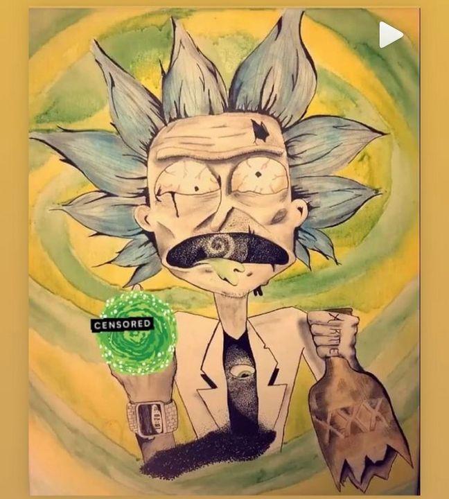 Rick and Morty Watercolor Painting - Annaspangler7 Art