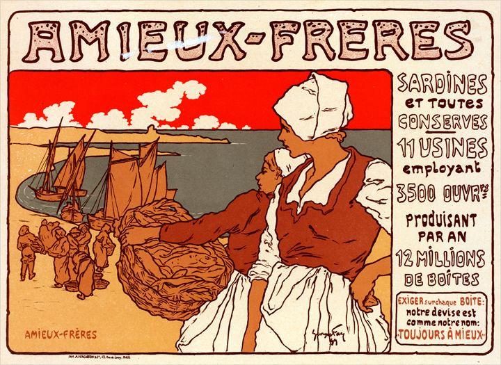 Vintage Poster les Sardines Amieux - Liszt Collection