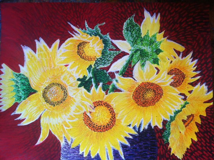 Sun Flowers in purple vase - CurlyArt