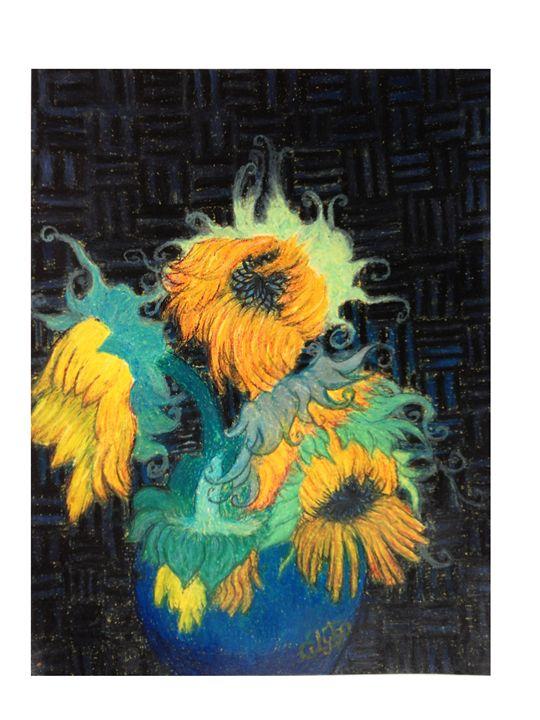 Sun Flowers Blue Vase - CurlyArt