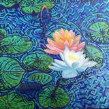 36x36in water lilies