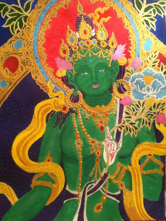 Green Tara Buddha of Enlightenment - CurlyArt