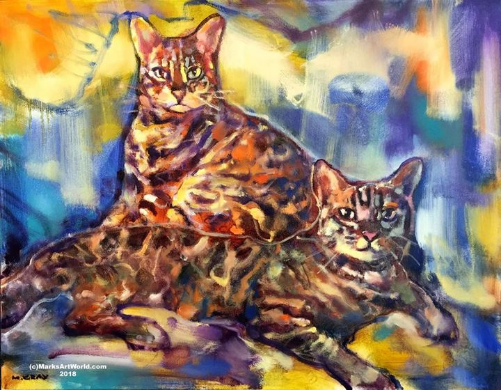 'Two Bengal Cats' by Mark Gray - MarksArtWorld