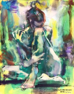 Figure Study in Green - Mark Gray - MarksArtWorld