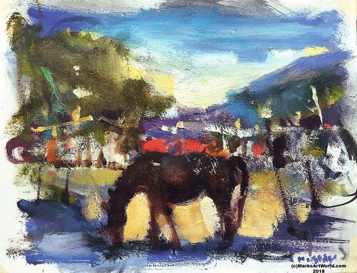 Horse & Barn By Mark Gray - MarksArtWorld