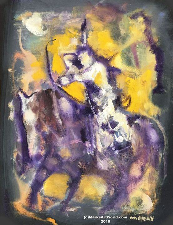 Native On Horseback by Mark Gray - MarksArtWorld