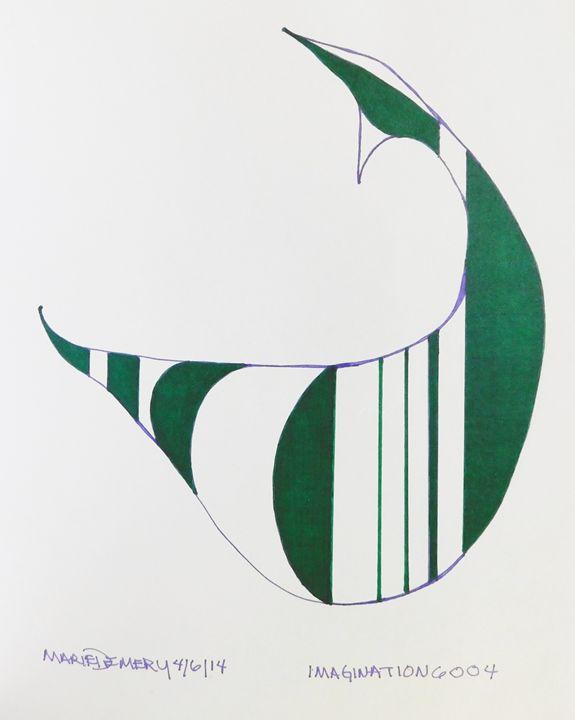 Green Abstract Llama - MarieDemery