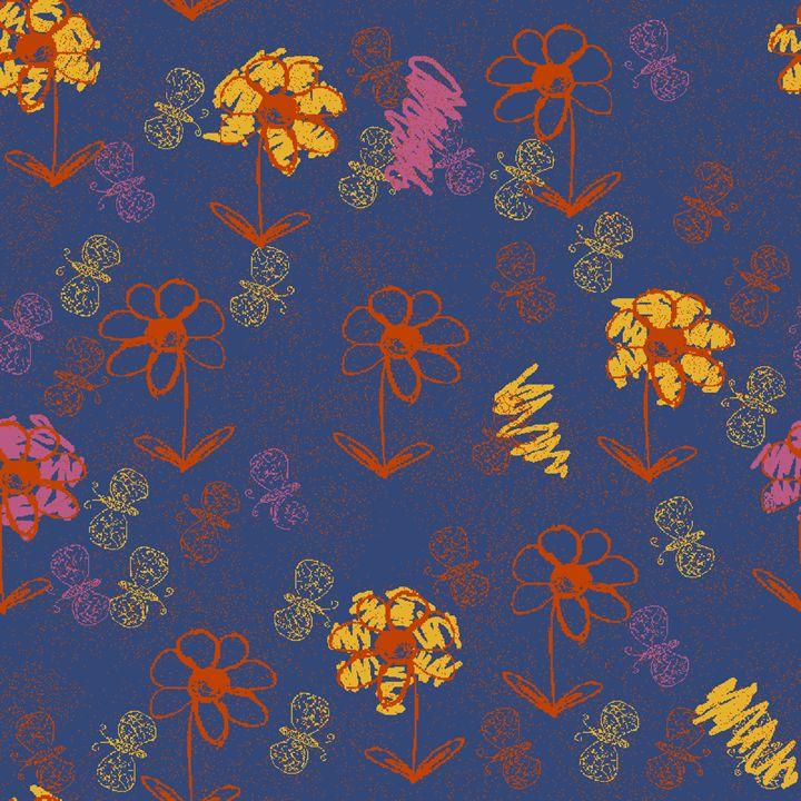 Scribbled Flower Garden in Blue - Rehal's Expression